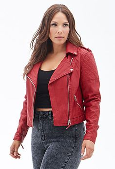 Quilted Faux Leather Jacket   FOREVER21 PLUS - 2000066821