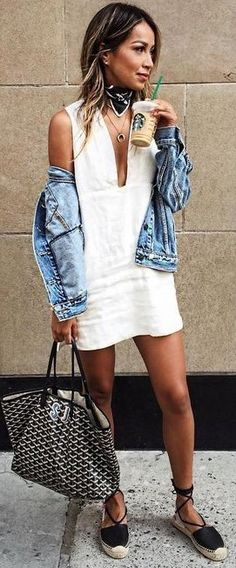 #summer #trending #outfits |  Denim + White
