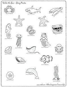 Ocean Theme - underwater adventure - drawing - writing - stories - story rocks - kindergarten - first grade - second grade - third grade - writing prompts - sentence starters - story prompts - story map - www.crekid.com
