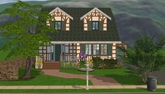 while I'm actually posting things, here's a house! for some reason I decided a storybook cottage-ish exterior def needed very contemporary furniture. Cottages And Bungalows, Storybook Cottage, Contemporary Furniture, Plays, Sims, Exterior, Mansions, House Styles, Home Decor