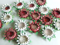Lots of Toilet Paper Tube Flower Brooches | Flickr - Photo Sharing! michelemademe.blogspot.com has the video tutorial (click on toilet paper among the choices on the left). Cute kids craft I think.
