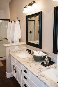 White bathroom cabinets with granite bathroom cabinets and white bathroom cabinets with dark white bathroom cabinets . white bathroom cabinets with granite Modern Bathroom Cabinets, Bathroom Countertops, Bathroom Renos, Bathroom Ideas, Bathroom Interior, Interior Paint, Interior Design, Design Bathroom, Bathroom Vanities