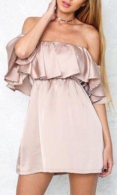 Break The Mold Beige Satin Short Sleeve Off The Shoulder Ruffle Mini Dress