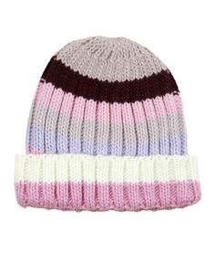 Pink Striped Knitted Beanie Hat  #ChiaraFashion