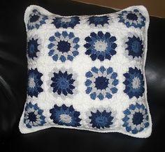 Blue Crochet Granny Square Pillow