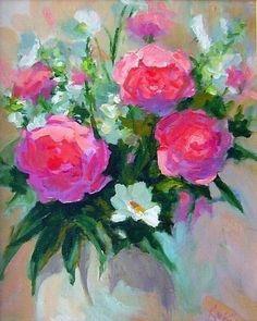 English Rose Bouquet original oil painting by Patricia Kness by Patricia Kness Oil ~ 16 x 12 English Roses, Rose Bouquet, Flower Art, Still Life, Glass Vase, Painters, Artist, Flowers, Oil