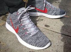 2fbd6a6c Nike Flyknit Chukka Grey Red New Nike Shoes, Nike Heels, Nike Boots, Nike
