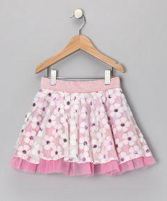 Pink sequin floral skirt.