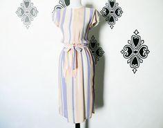 Vintage 80s Striped Southwestern Chevron Dress S M Belted Flutter Sleeve Side Slit Knee Length by PopFizzVintage on Etsy