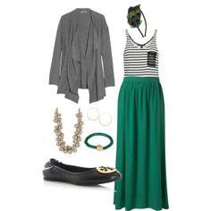 long, green maxi skirt + drapey, gray cardigan