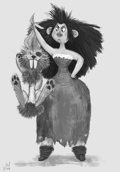 I came across some old unfinished sketches from a semi abandoned caveman personal project. So I thought I would take a second and spruce some up a bit. This was an idea for the cave momma and a pesky critter.