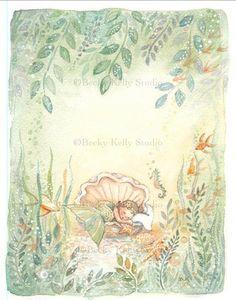 Sleeping Baby Mermaid Art, babys room art, 8 X 10 print on Etsy, $28.99