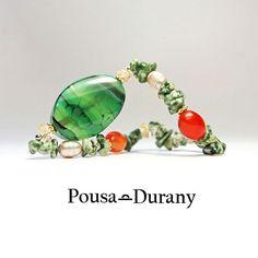La colección NATURAL de POUSA DURANY nos ofrece una de las pulseras estrella con ágatas, perlas y cornalinas.