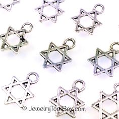 Star of David Charms, Pendants, Double Sided, Antique Silver Pewter, 13x9mm, Lead Free, Lot Size 15 to 50, #1201