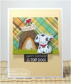 Top Dog Card  by Charmaine Ikach #Cardmaking, #Birthday, #Critters