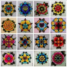 Tattoo flash - flowers | Traditional Tattoo Art | Pinterest