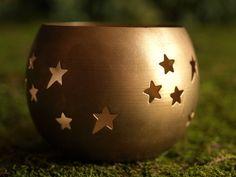 Votive Holder, Brass, Star Cutout, Tea Light Holder, Candle Holder