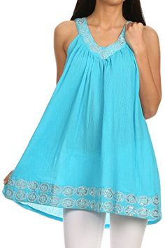 Sakkas 11625 - Tyra Sequin Embroidered Relaxed Fit Sleeveless V-Neck Top - Blue - OS Sakkas http://www.amazon.com/dp/B00VU1LJ80/ref=cm_sw_r_pi_dp_hx0Gvb0C9QKCP