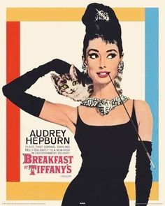 Audrey Hepburn Breakfast at Tiffany's Cat Classic Hollywood Movie Actress Celebrity Print Poster x Iconic Movies, Old Movies, Classic Movies, Vintage Movies, Vintage Movie Posters, George Peppard, Breakfast At Tiffany's Poster, Audrey Hepburn Breakfast At Tiffanys, Breakfast In Tiffany