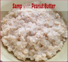 Recipe to make samp with peanut butter. Samp is made from maize that has the husk removed and is eaten in different ways across Southern Africa. West African Food, South African Recipes, Fish Recipes, My Recipes, Vegan Recipes, African Recipe Book, Easy Cooking, Cooking Time, Zimbabwe Food