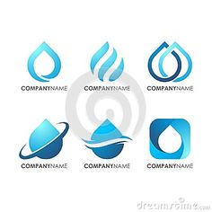 Modern awesome logos for company industrial technology, Wave Blue Water Drop Logo Set