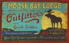 Moose Bay Lodge Rustic Wood sign.