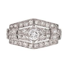 Platinum Art Deco Diamond Handmade Ring