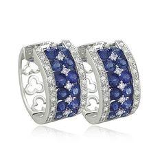 Sapphire and Diamond Earrings .