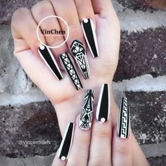 35 Fantastic Designs For Coffin Nails You Must Try – Long Nails – Long Nail Art Designs Gorgeous Nails, Love Nails, How To Do Nails, Fun Nails, Pretty Nails, Long Nail Designs, Black Nail Designs, Acrylic Nail Designs, Nail Art Designs