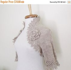 SPRING SALE Milk Brown Cashmere Bridal Shrug With by knittingshop