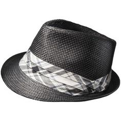 Men s Fedora Straw Hat with Plaid Band - Grey White Trilby Hat 60cca9decc81