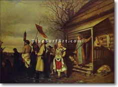 Easter Procession in a Village - £124.99 : Canvas Art, Oil Painting Reproduction, Art Commission, Pop Art, Canvas Painting
