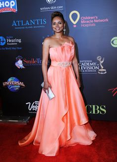 Actress Debbi Morgan attends the Annual Daytime Entertainment Emmy Awards Discount Prom Dresses, Star Wars, Strapless Dress Formal, Formal Dresses, Iconic Women, Red Carpet Fashion, Beautiful Black Women, Awards, Entertaining