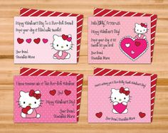 Printable Hello Kitty Valentine Cards Four 4 by SweetJanieDesigns, $6.00