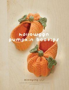 Halloween Pumpkins Baby Booties Crochet PATTERN, PDF -