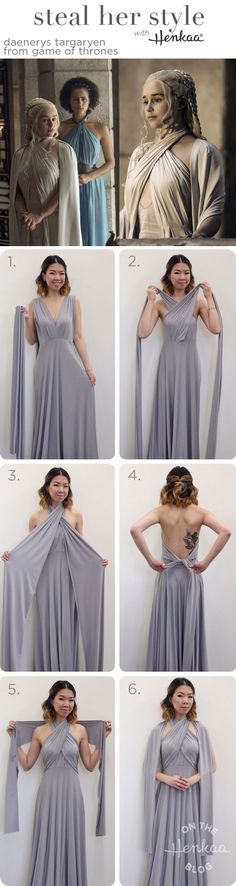 Steal Daenerys Targaryen's Style (from Game of Thrones Season 5) with just a convertible dress and sash! Game of Thrones style maxi dress for cosplay