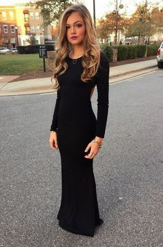 New Style Black Prom Dresses Elegant Mermaid Prom Gown Simple Prom Gowns With Long Sleeves For Teens