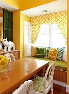 Inspiring Summer Interiors: 50 Green and Yellow Kitchen Designs : 50 Green And Yellow Kitchen Designs With White Yellow Kitchen Wall And Wooden Dining Table And Green Bar Stool And Sofa Pillow Window Curtain And Brown Ceramic Yellow Kitchen Designs, Yellow Kitchen Walls, Yellow Walls, Green Kitchen, Kitchen Colors, Yellow Kitchens, Summer Kitchen, House Of Turquoise, Turquoise Kitchen
