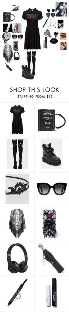 """""""my creepy pasta oc Quinns outfit"""" by okatuforlife ❤ liked on Polyvore featuring Killstar, ASOS, Gucci, Beats by Dr. Dre and Alexander McQueen"""