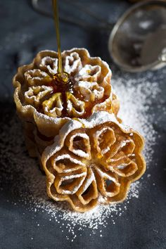 Swedish Waffle Rosettes - The Kate Tin Rosettes Cookie Recipe, Rosette Recipe, Rosette Cookies, Snowflake Cookies, Cookie Desserts, Cookie Recipes, Dessert Recipes, Scandinavian Rosettes Recipe, Scandinavian Recipes