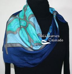 Hand Painted Silk Scarf. Turquoise Teal Blue Handmade Silk