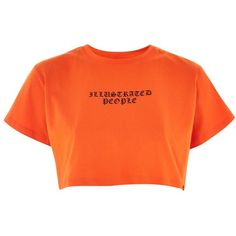 Logo Print Cropped T-Shirt by Illustrated People (76.185 COP) ❤ liked on Polyvore featuring tops, t-shirts, orange, logo top, logo design t shirts, cotton t shirts, orange t shirt and cotton tees