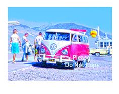 Vintage 1960s Red VW Volkswagon Bus at Airport by UncleJacksSnaps, $15.00