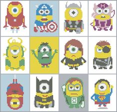 BOGO FREE! Superheroes MINIONS Cross Stitch Pattern - pdf pattern instant download  #38 by Rainbowstitchcross on Etsy