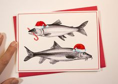 Holiday card of santa fish with candy cane by Amelie Legault on Etsy $5.00 Click here to buy: https://www.etsy.com/ca/listing/250699804/christmas-card-of-fish-with-santa-hats?ref=shop_home_active_12 #etsy #holidaycard #christmascard #fishcard #santafish #santahatcard #amelielegault #poisson #cartedenoel #cartedepoisson #poissondenoel #chapeaudeperenoel #fishholidaycard