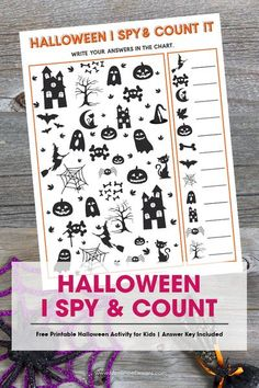 Kids of all ages will love this fun Halloween I Spy & Count It Activity. A fun game that includes a counting activity. Great for home or school, your Halloween party or even while traveling in the car! It's super fun for kids of all ages. #halloweenforkids #halloween ideas #HalloweenGameforkids #freeprintable Halloween Activities For Kids, Halloween Games, Halloween Kids, Halloween Party, I Spy Games, Counting Activities, Cool Kids