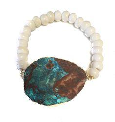 Ocean Jasper & Bone Stretch Bracelet