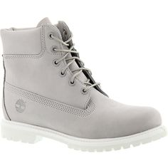 """Timberland Icon 6"""" Premium Boot ($170) ❤ liked on Polyvore featuring shoes, boots, light grey, leather boots, timberland boots, real leather boots, water proof shoes and timberland footwear"""