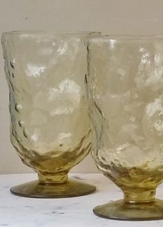 Vintage Amber Footed Crinkle Glassware Dimple Glass Ware Set of Five  $42