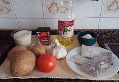 LAS RECETAS DE ANGELINES : PATATAS CON ARROZ Y BACALAO Eggs, Cheese, Breakfast, Food, Homemade Recipe, Easy Recipes, Cooking, Cod, Tasty